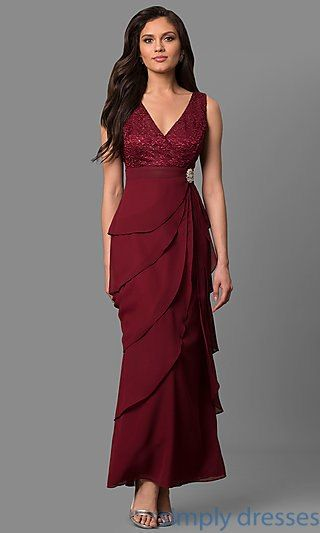 Lace Bodice Long Chiffon Evening Dress With Jacket B Pinterest
