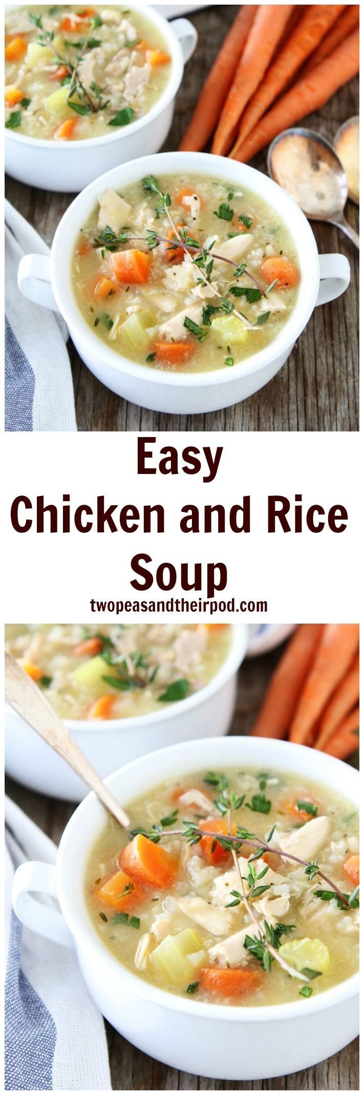 Easy Chicken and Rice Soup Recipe on http://twopeasandtheirpod.com This easy chicken soup recipe is a winter staple! It makes a great weeknight meal and comes in handy when you are feeling under the weather.