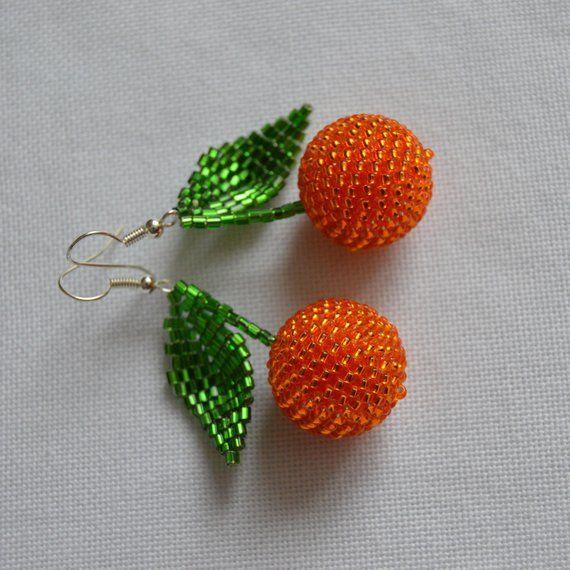 Orange Beaded Dangle Earrings Fruit Earrings Fruit Jewelry Orange