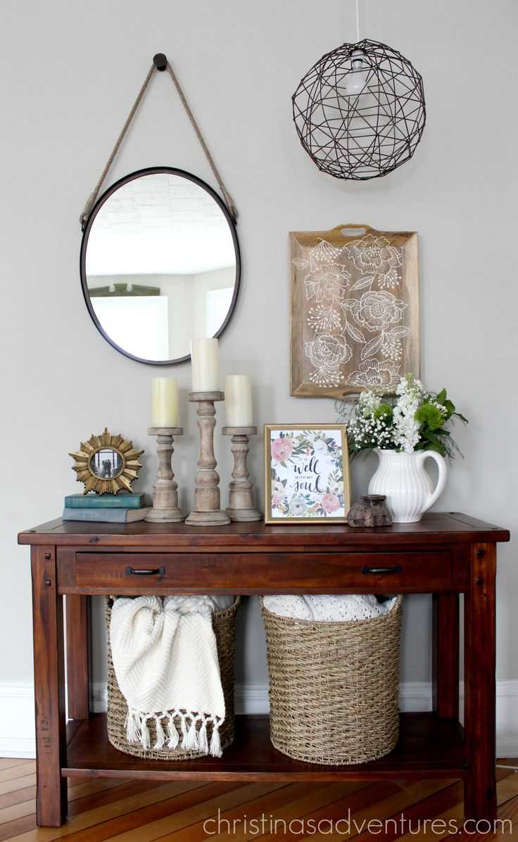 Casual farmhouse elegance side table styling