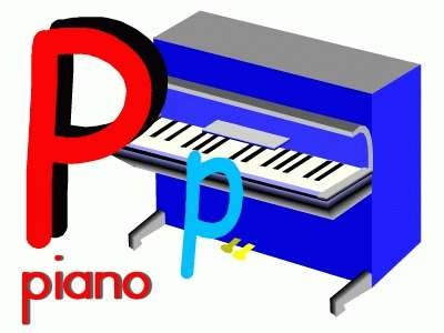 Letter P Piano online puzzle and links to printable activities