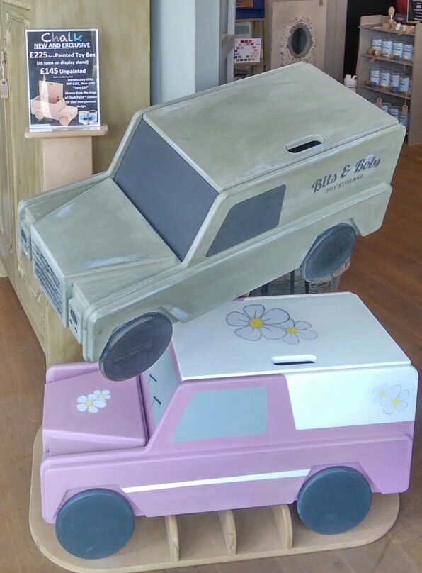 Our new Toy Boxes, available to buy as a blank canvas... ideal for painting with Chalk Paint by Annie Sloan in your own design. Here are two examples!