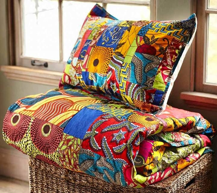 Working on a quilted patchwork myself Ankara Bed things...