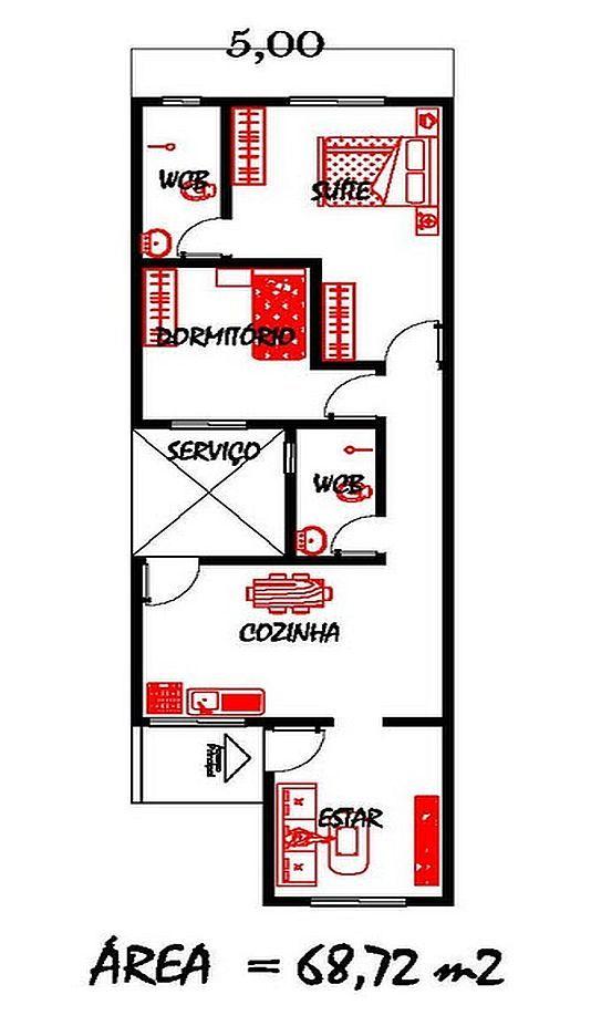 Projeto de uma casa com 68 M², ideal para terrenos com 5 metros de largura.