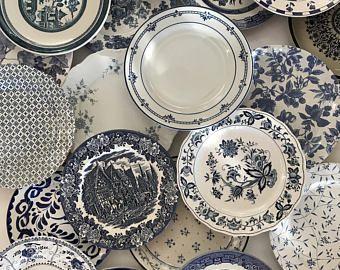 Blue White Dinner Plates Mismatched - Stripe Floral Spatter Asian Indigo Sky Ocean Blue - Wedding Shower Country Cottage Farmhouse Decor