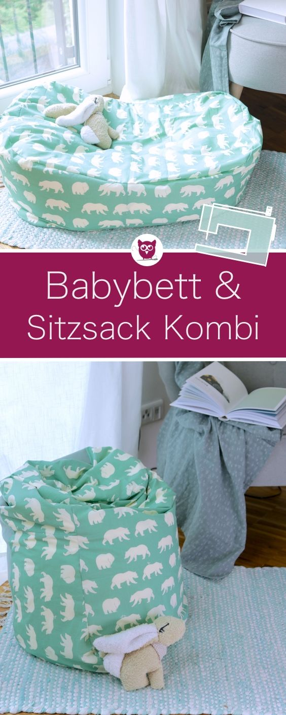 Babybettchen und Kindersitzsack nähen – DIY Eule