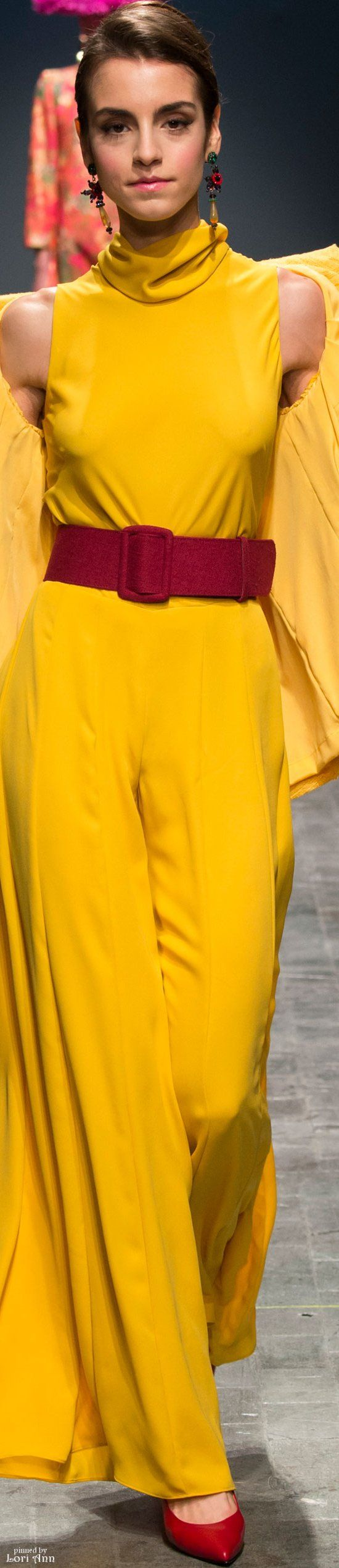Curiel Couture Spring 2016 yellow maxi dress women fashion outfit clothing style apparel @roressclothes closet ideas