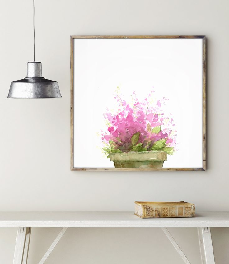 Little Flowerpot, Pink Beauty Flowers, Print from my original painting, Watercolor Floral Art, Home Decor, Mother's Day Gift. de LadyWatercolor en Etsy     -Photo of RakicN in Getty images.