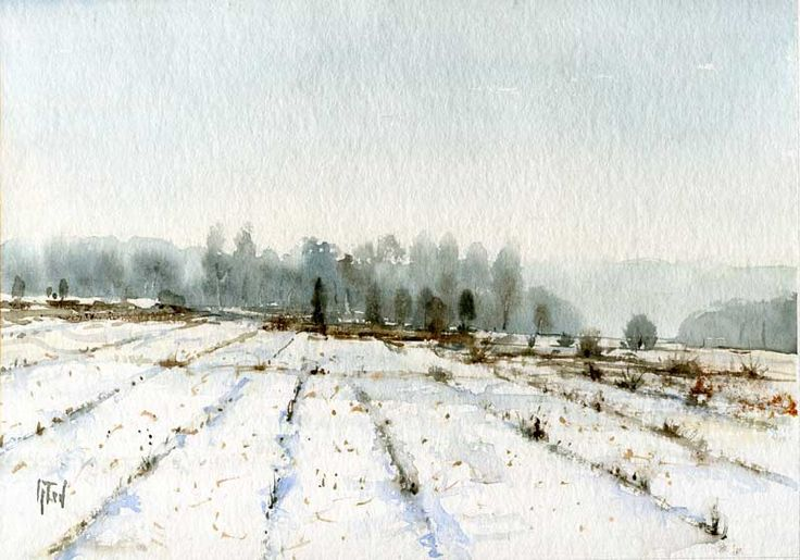 """www.artende.pl Jaroslaw Glod - Watercolor """"Winter Landscape"""" 21cm x 30cm"""