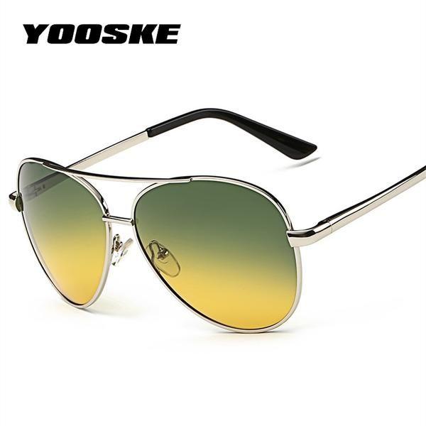 YOOSKE Classic Pilot Aviation Day Night Vision HD Sunglasses Men Women Goggles Glasses UV400 Driver Night Driving Sun Glasses