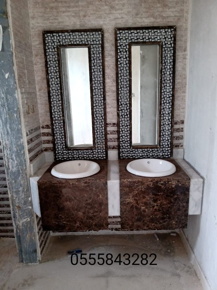 صور مغاسل رخام حمامات الرياض تركيب وتصميم وتفصيل Framed Bathroom Mirror Bathroom Mirror Bathroom Vanity
