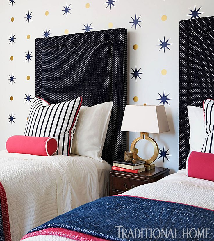 Guest Bedroom Star And Circle Decals Red White Blue Bedding Twin HeadboardHeadboardsInterior Design
