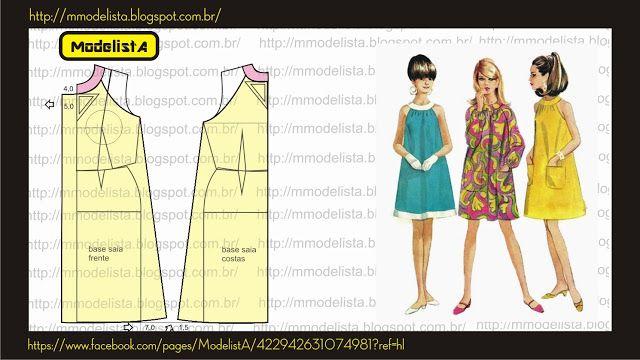 ModelistA: Vestido trapézio: Patron, Clothes, Dresses, Sewing, Diy, Sewing Patterns