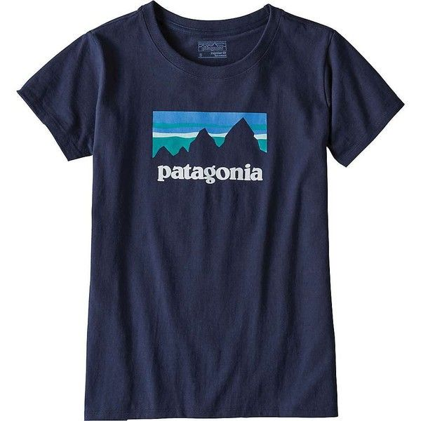 Patagonia Women's Shop Sticker Cotton/Poly Responsibili-Tee ($35) ❤ liked on Polyvore featuring tops, t-shirts, navy blue, navy t shirt, boyfriend tee, blue tee, patagonia and cotton t shirts