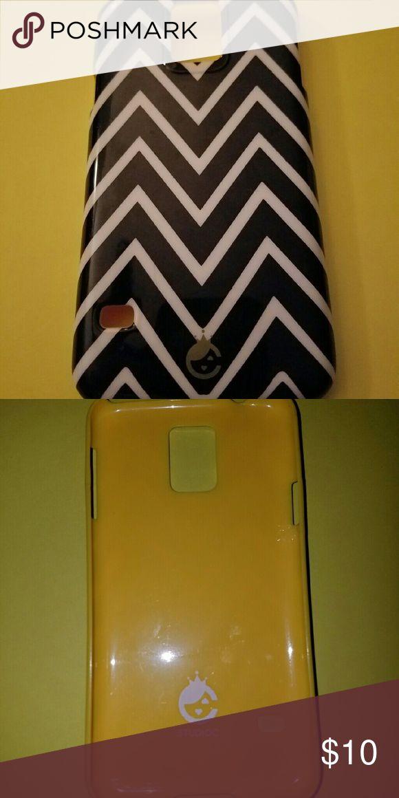 Samsung Galaxy 5 case Galaxy 5 phone case in black and white chevron pattern with yellow outline.  Great condition. StudioC Accessories Phone Cases