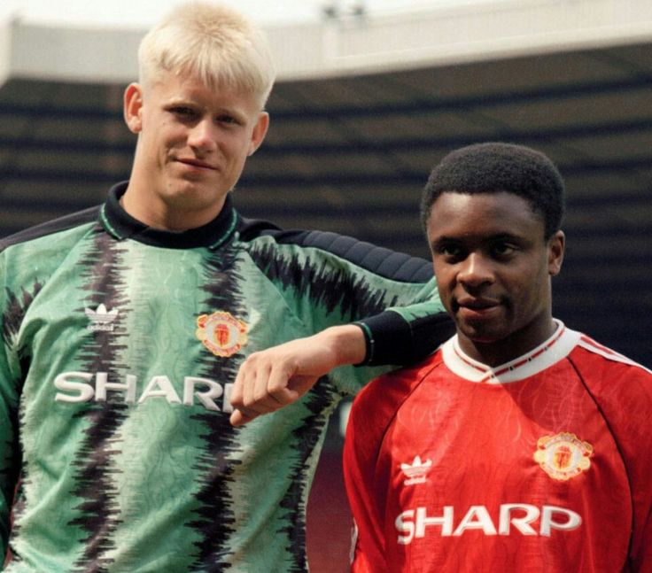New boys. Peter Schmeichel and Paul Parker join Man Utd in 1991.