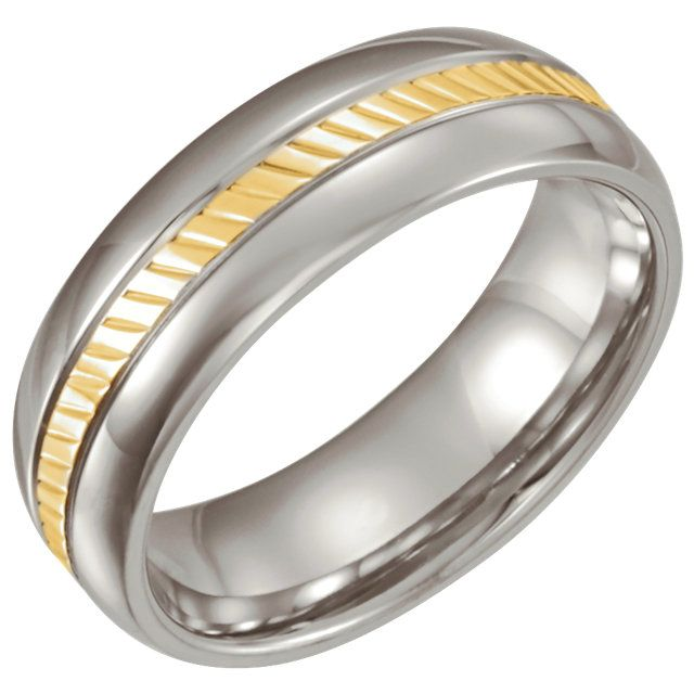 Stainless Steel & 18kt Yellow inlay Domed 6.5mm Band Size 7...(STSTST861:070:P).! Price: $89.99