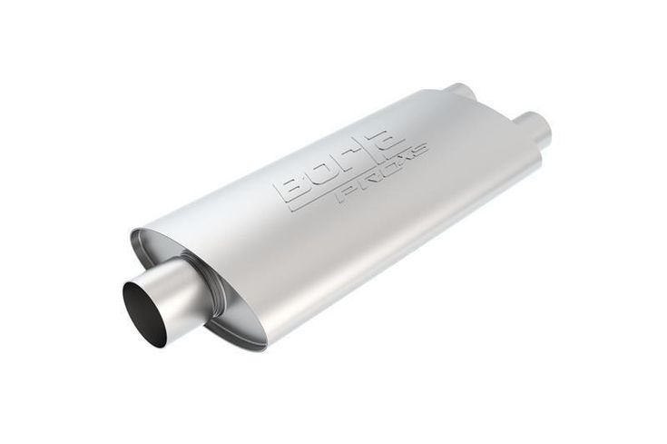 "Borla Universal 3in Inlet/ Dual 2.25"" Outlet Center/ Dual Oval Turbo XL Style Stainless Steel Performance Muffler"