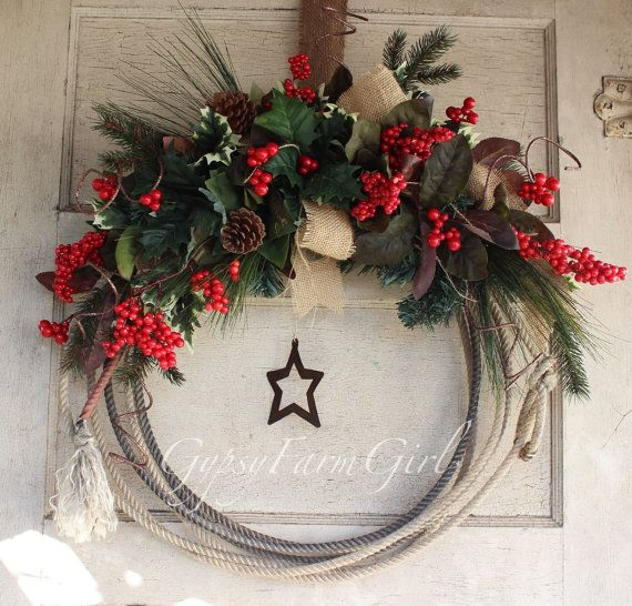 Western Lariat Rope Christmas Wreath with Rustic Star - Cowboy, Country Christmas by GypsyFarmGirl