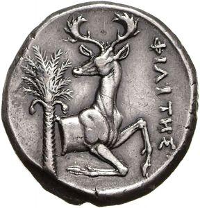 Tetradracma - argento - Efeso (370-360 a.C.) - verso: protome di cervo inginocchiato e palma da datteri - Münzkabinett der Staatlichen Museen Berlin