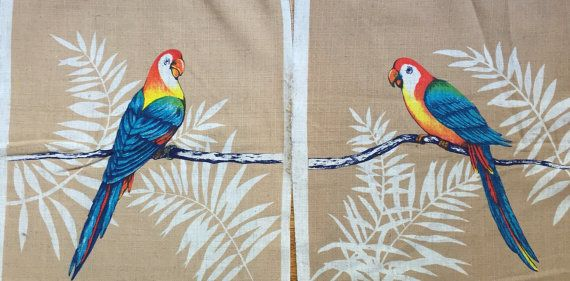 Pair of Vintage New Stock 1980s colorful parrots by EssentialsWest