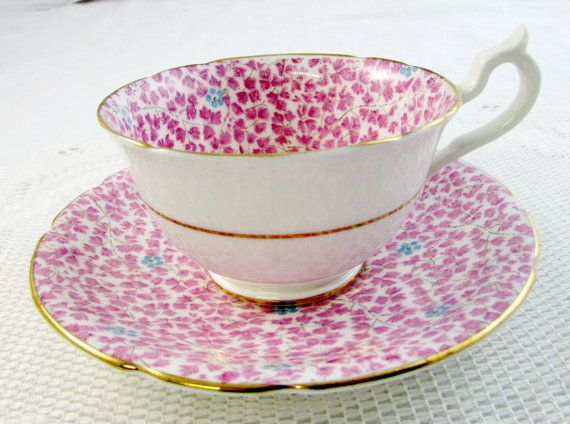 Vintage Tea Cup and Saucer Stanley Pink Chintz with by TheAcreage