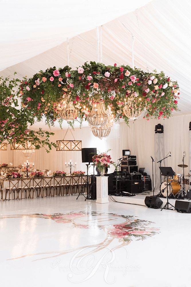 Floral chandelier greenery tent wedding decor Toronto - Love this setup. Usually you find the flowers on top of tables, and as trim. The flowered chandeliers are a great, and original look. #flowers #wedding #planner