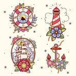 Set of old school tattoos with lifebuoy, lighthouse, ship and anchor. Tradition tattoo ink design.