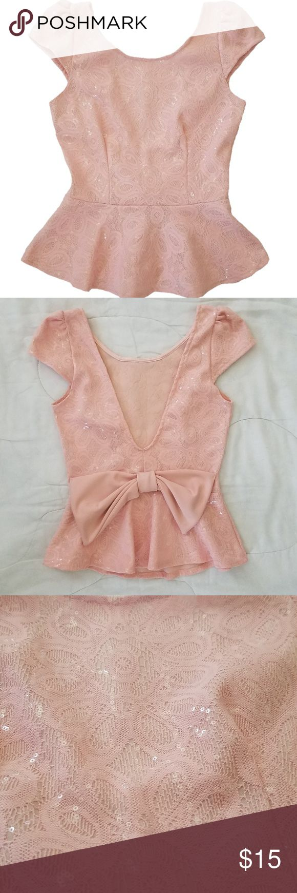 "Papaya Pink Sequin Peplum Top with Bow Great for a night out!  Measurement Chest: 33.5"" Sleeves: 4.5"" Length: 22.75"" Flare: 22""  Material 100% Polyester Papaya Tops Blouses"