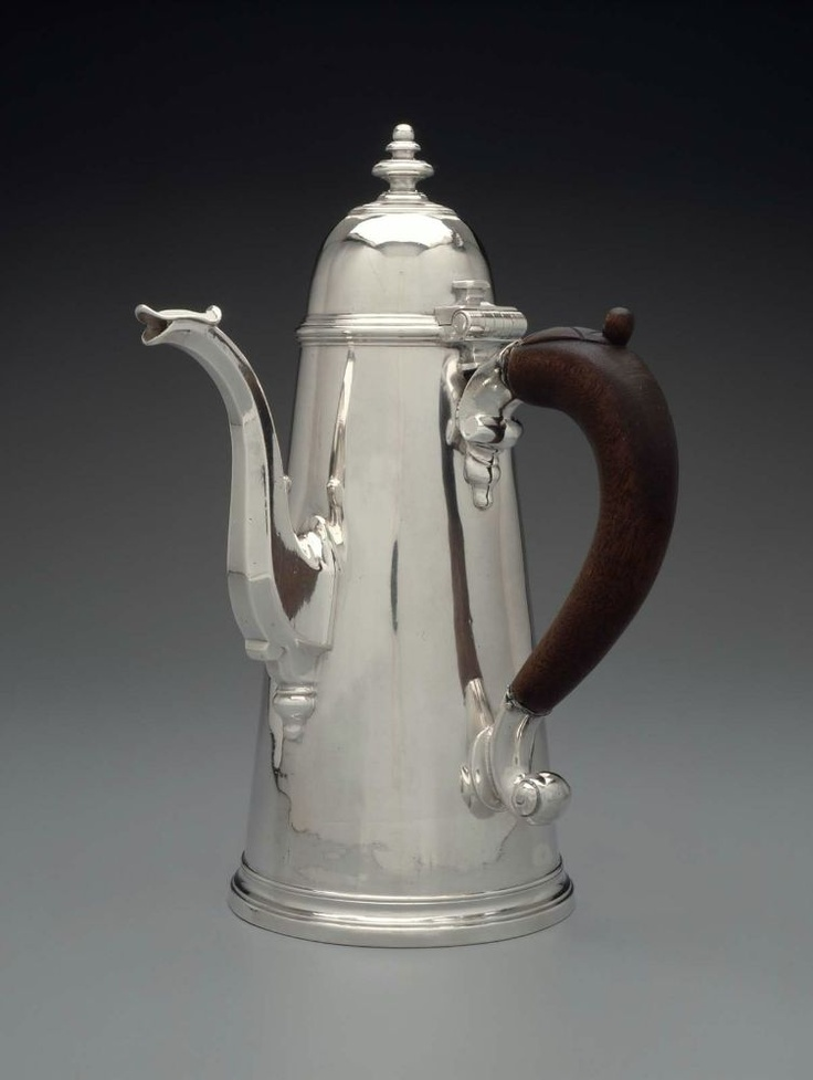 Coffeepot. English (Exeter). Joseph Collier, 1727–28.  Silver, wood