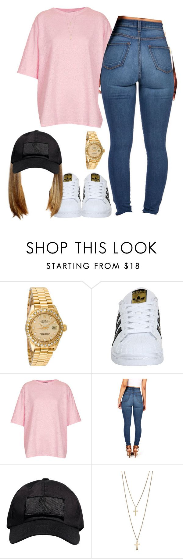 """"""""""" by taylordena ❤ liked on Polyvore featuring Rolex, adidas, Topshop and October's Very Own"""
