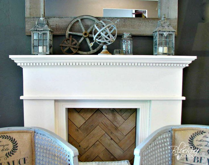 45 Fireplace Decoration Ideas So Can You The Creative: Blue Roof Cabin: Junk On The Mantel And Vintage Chair Redo