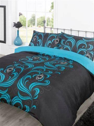 Duvet Cover Bedding Set - Ava Black/Teal - King