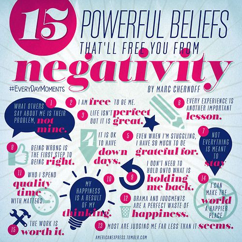 15 Powerful Beliefs that'll free you from negativity.  #checklist #personaldevelopment