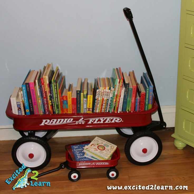 A GREAT alternative to a bookcase for a boy or girl's bedroom... although I personally think it would compliment a masculine theme better. :)