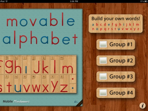 Montessori Movable Alphabet iPad app by Mobile Montessori
