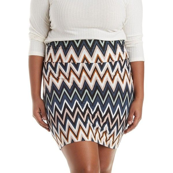 Charlotte Russe Plus Size Multi Printed Bodycon Mini Skirt by... (£9.08) ❤ liked on Polyvore featuring plus size fashion, plus size clothing, plus size skirts, plus size mini skirts, multi, high waisted bodycon skirt, high waisted skirts, plus size bodycon skirt, charlotte russe y chevron skirt