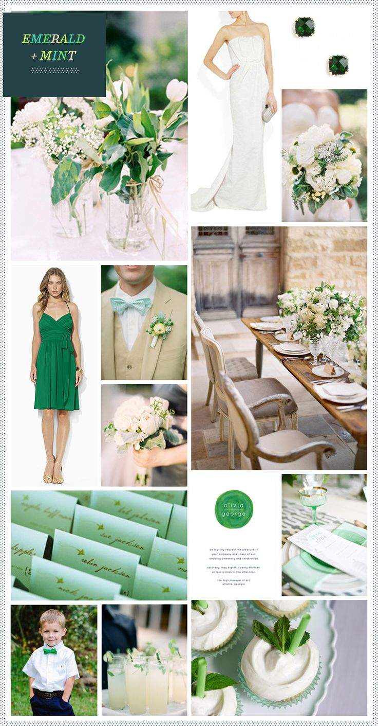 Emerald + Mint Wedding Inspiration; add the chocolate brown....