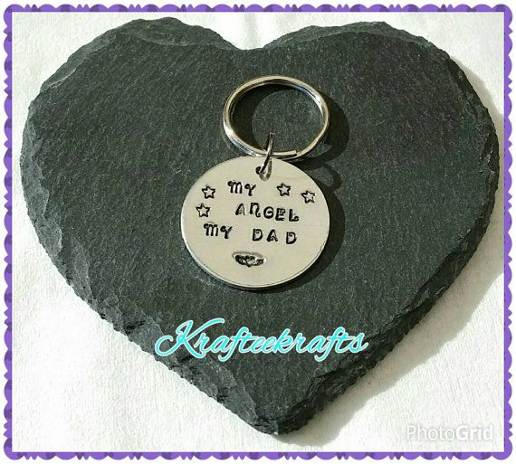 My Angel My Dad, hand-stamped keyring, personalised, personalized, gifts for him, gifts for dads, father's day gifts