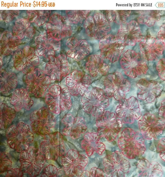 50% OFF SALE - Robert Kaufman Batik, Red Flowers with Green Background, By the Yard 44/45 inches Wide