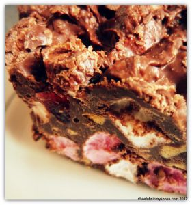 Easy no cook Rocky Road Cake made with Malteasers, Crunchie, marshmallows, kit-kat