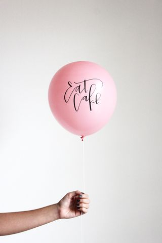 Eat cake! calligraphy, birthday, balloon, photography, lettering, type, typography