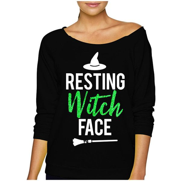 Resting Witch Face Halloween Slouchy Sweatshirt With Green Glitter... (3315 ALL) ❤ liked on Polyvore featuring tops, hoodies, sweatshirts, dark olive, women's clothing, green sweatshirt, green top, slouchy tops, green shirt and glitter shirt