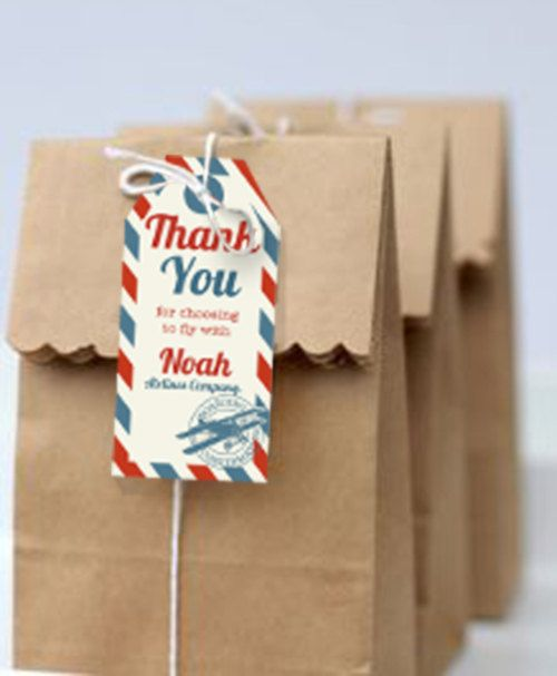 Airplane Party Favor Tags Vintage Airplane by SunshineParties on #Etsy......so lovely! #AirplaneThankYouTags #AirplanePartyFavorTags