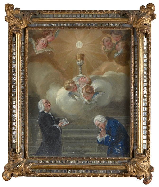 P. A. TRONO, Adoration of the Blessed Sacrament, oil on copper, 1762, unedited, forehead, selected by SECOL-ART DI MASOERO, Turin (I) #flashbackfair #exhibitors #turin #flashback16 #thenewsyncretism #allartiscontemporary