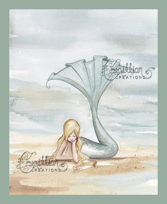 Mermaid Reflecting on the Beach Print from Original Watercolor Painting by Camille Grimshaw. $6.99, via Etsy.