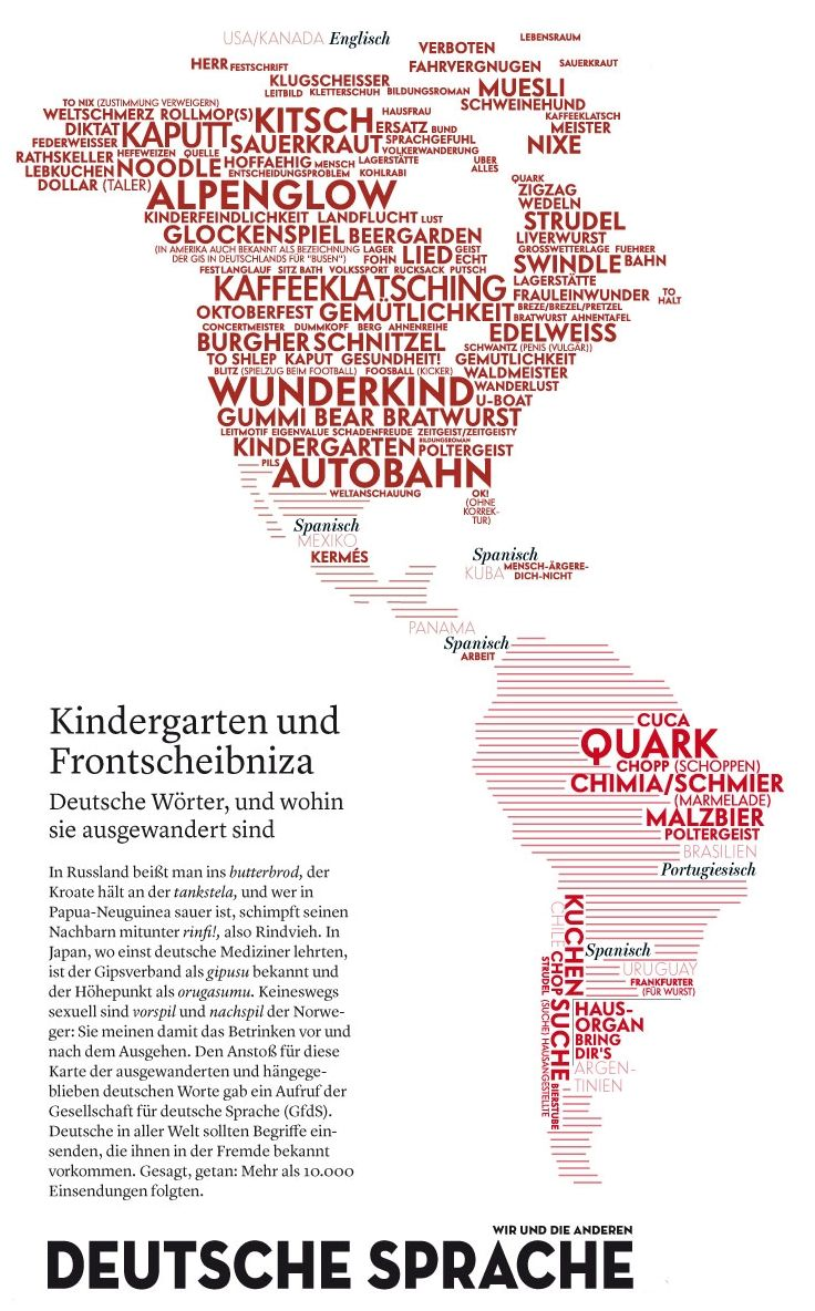 Map: German words adopted in the Western Hemisphere    We dig this map of the most popular German words that have emigrated to other parts of the world.
