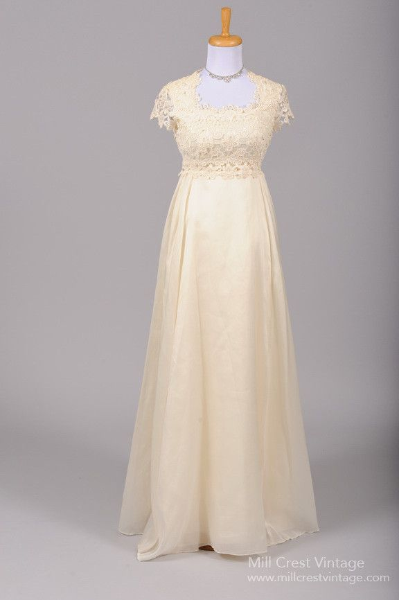 1960 Crocheted Vanilla Lace Vintage Wedding Gown , Vintage Wedding Dresses - 1960 Vintage, Mill Crest Vintage  - 1