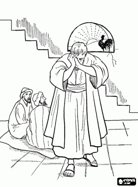 Following the arrest of Jesus, in the palace Peter denies to be his disciples three times before the cock crows coloring page