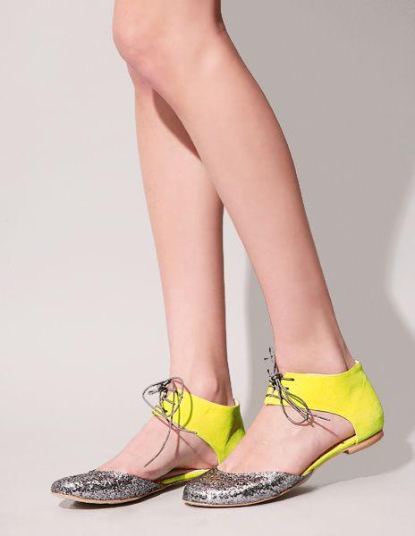 Glitter yellow Lace-up Ballerina